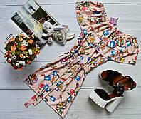Платье-трансформер с двумя рюшами,поясом и очень ярким принтом: голубые розочки персик