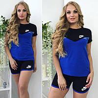 Костюм женский летний шортами Nike большой размер