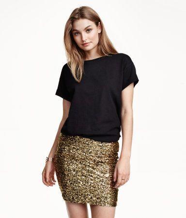 Золотистая юбка в пайетки H&M