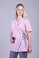 Женский медицинский костюм серо-розовый