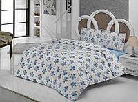Полуторное постельное белье Romantik синее  ранфорс, полуторное
