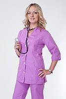 Сиреневый женский медицинский костюм батального размера