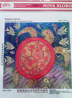 """Ткань с нанесенным рисунком-схемой (атлас) """"Морская черепаха"""", 26*26см.,  для вышивания бисером,"""