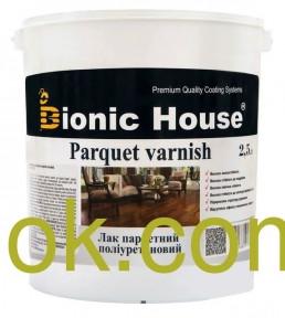 """Паркетный лак (акрил-уретоновый) на водной основе """"Parquet Varnish""""  Bionik-House 2,5 л"""
