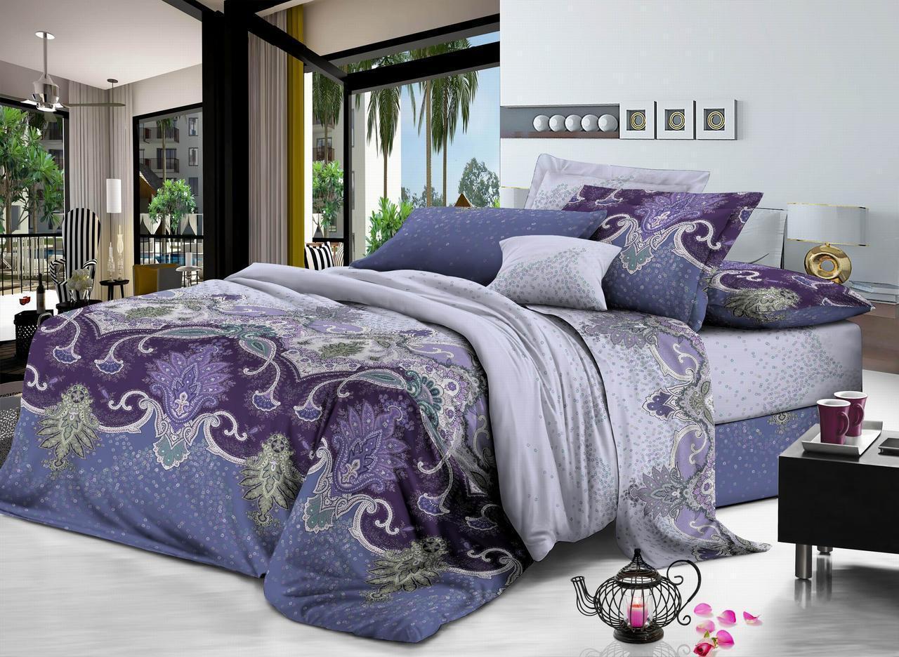 Полуторный комплект постельного белья 150*220 сатин (7325) TM KRISPOL Україна