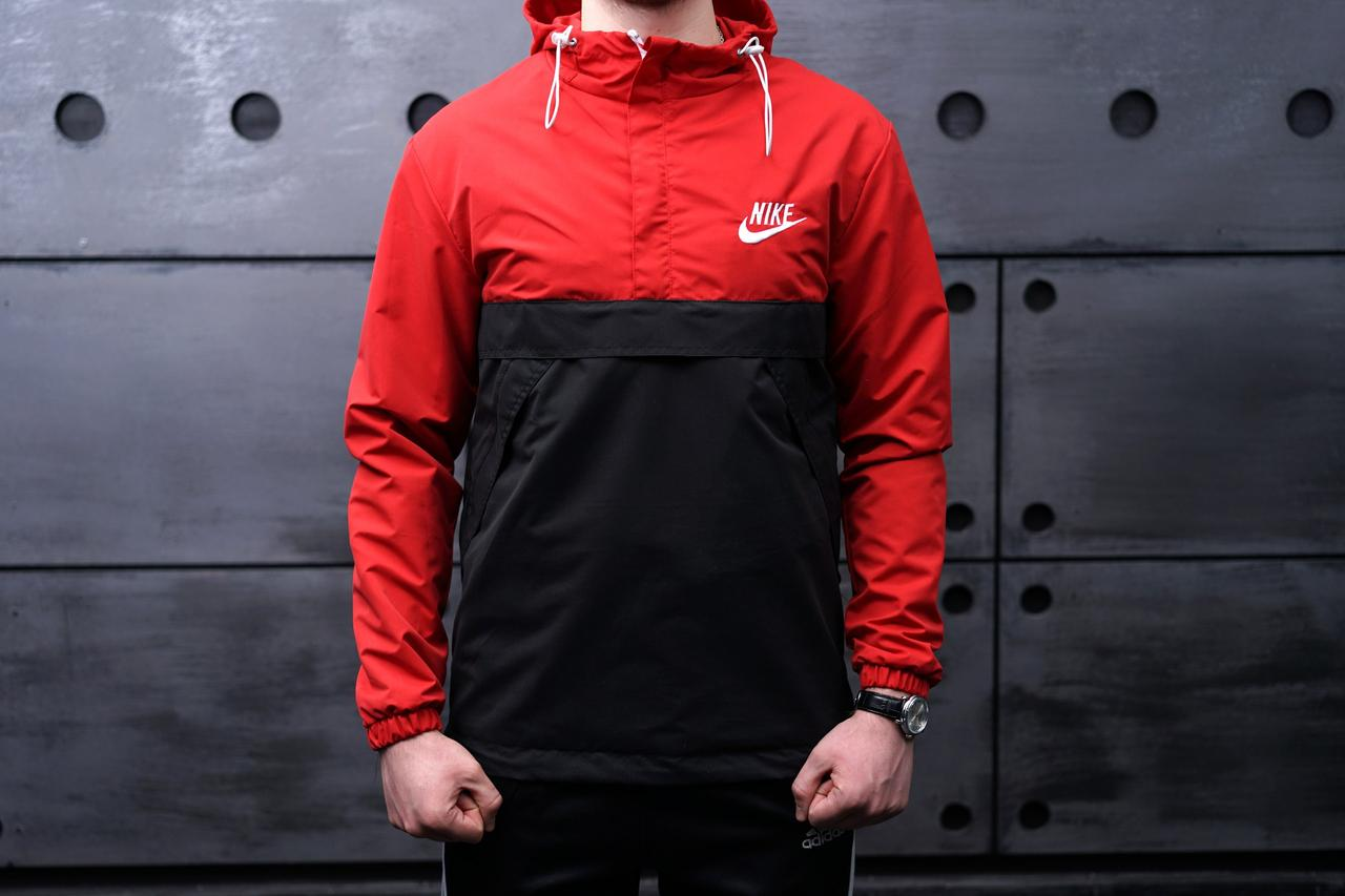 Анорак Nike (Найк), красно-черный