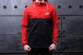 Анорак Nike (Найк), червоно-чорний