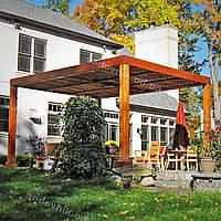 Деревянный навес от солнца для частного дома 15