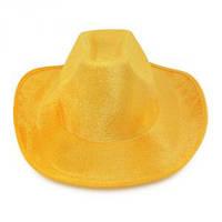 Шляпа Ковбоя велюровая желтая