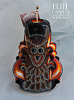 Свеча с точечной росписью по парафину акриловыми красками от ELITE CANDLES узор сова