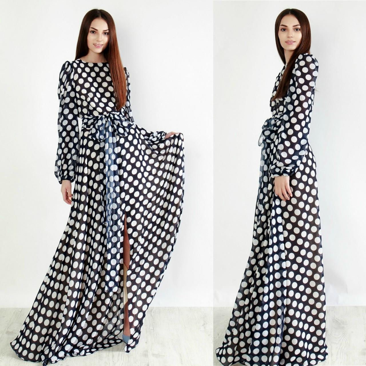 Шифоновое платье в горох, цена 835 грн., купить в Полтаве — Prom.ua ... cfc287e9935