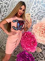 """Женское модное платье с карманами и кулисой на поясе """"Шанель"""""""