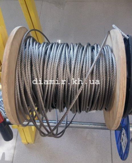 Трос стальной нерж А4 6 мм 6х7 + 1FC DIN 3055