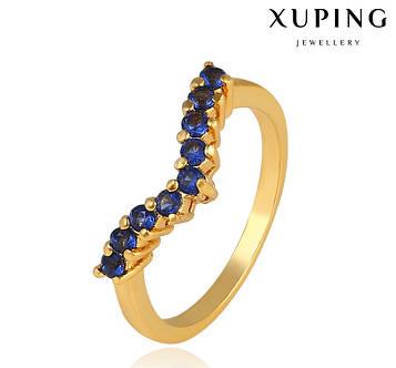 """XUPING Кольцо Позолота 24к """"Виктория"""" с синими камнями Размер 16,16.5,17"""