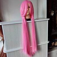 Длинный розовый парик 100 см.