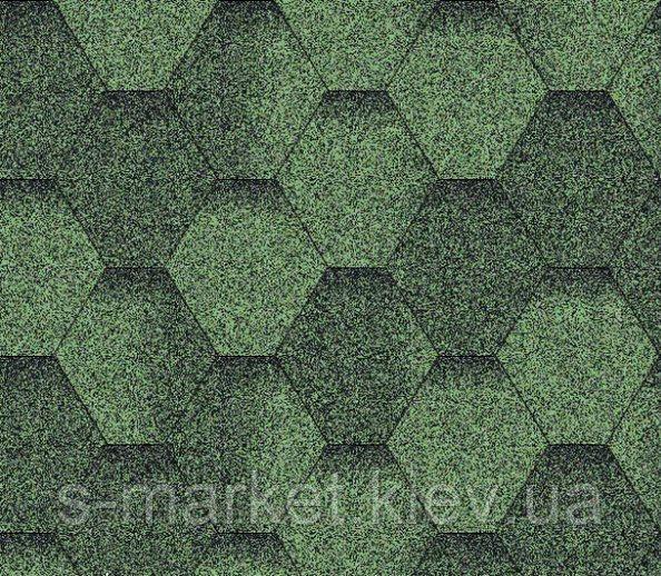 Битумная черепица Акваизол коллекция «Мозаика» Зелёная ЭКО