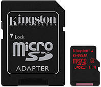 Карта памяти Kingston microSDHC/SDXC UHS-I U3 90R/80W SD адаптер 64Gb