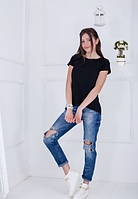 Жіноча чорна асиметрична футболка-туніка Jussy