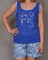 """Летняя пижама женская """"Мур мур"""" комплект домашний майка и шорты хлопок"""