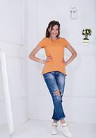 Жіноча оранжева асиметрична футболка-туніка Jussy