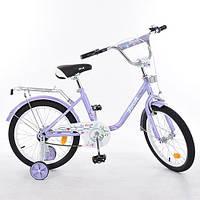 """Двухколесный велосипед Profi Flower 14"""" Фиолетовый (L1483) с зеркалом"""