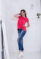 Жіноча коралова асиметрична футболка-туніка Jussy (S-XXL)