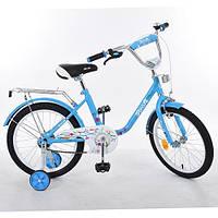 Детский двухколесный велосипед Profi Flower Голубой 14'' (L1484) с приставными колесиками