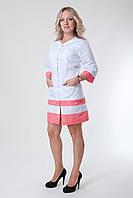 Медицинский халат белый с кораловыми полосками
