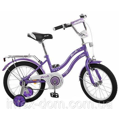 """Двухколесный велосипед Profi Star 14 """" Фиолетовый (L1493) с приставными колесиками"""