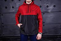 Анорак Nike (Найк), красно-черный, лого - вышит