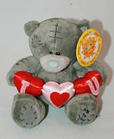 Мишка Тедди с тремя сердцами 14 см