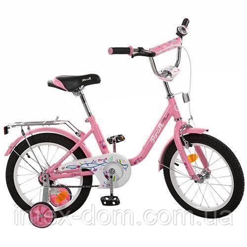 """Детский двухколесный велосипед Profi Flower 16"""" Розовый (L1681) с приставными колесиками"""