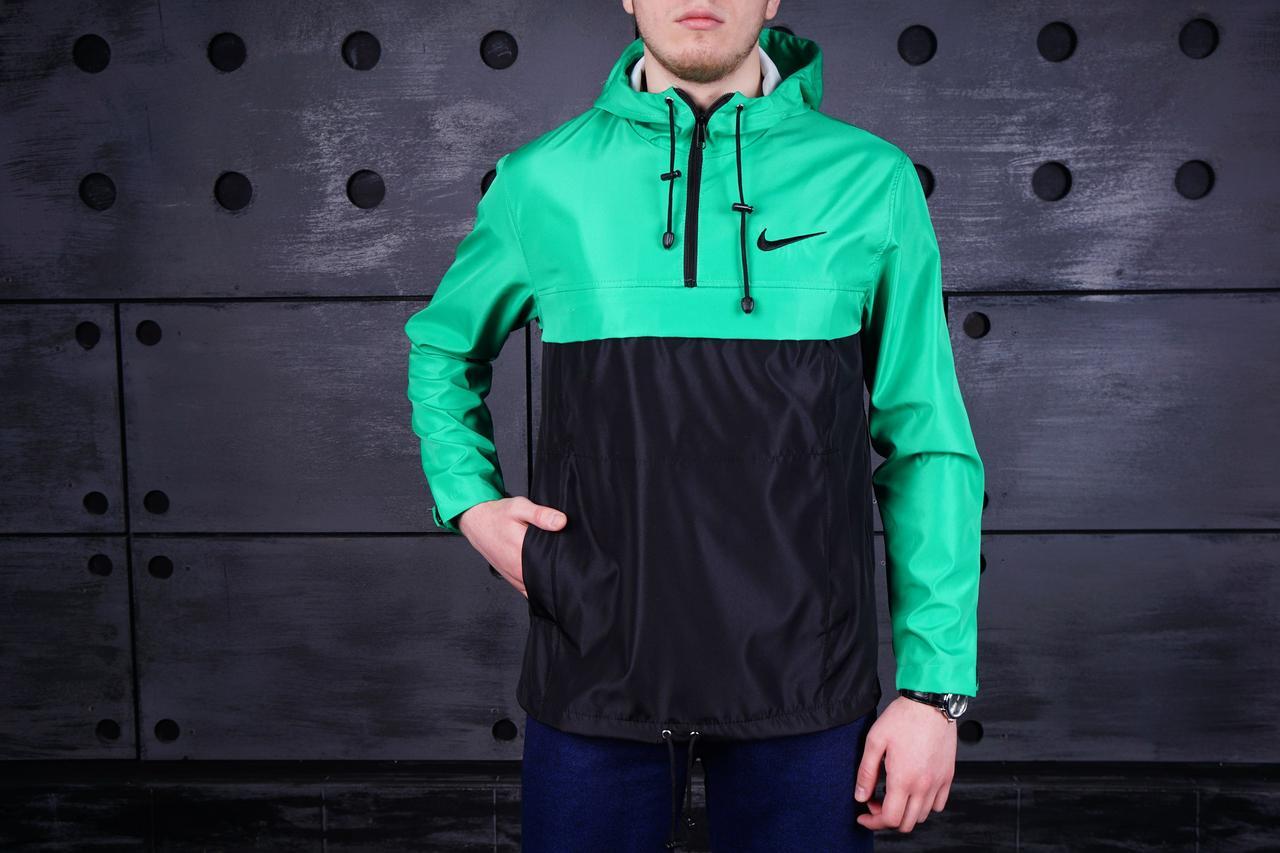 Анорак Nike (Найк), бирюзово-черный