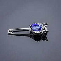 Брошь булавка Сова синий камень ультрамарин
