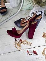 ХИТ СЕЗОНА!! Велюровые,бархатные босоножки на толстом каблуке,бордо,пепельный