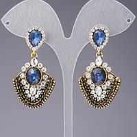 """Серьги с синими кристаллами серия """"Восточная невеста"""" цвет """" античное золото"""" L-5см"""