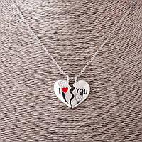 """Кулон на цепочке """"Две половинки сердца"""" d-3см L- 55см цвет металла """"серебро"""""""
