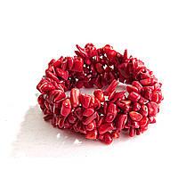 """Браслет на резинке красный Коралл широкий, камни """"мелкий гравий"""""""