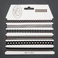 Чокер набор ажурная тесьма черная 6 шт.