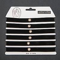 Чокер набор 6 шт.  бархатная лента черная  кристаллом (золотистая оправа)