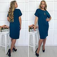 Женское платье батал 63- прямое с украшением, фото 1