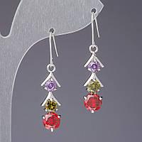 Серьги  с цветными кристаллами Светофор L-4см