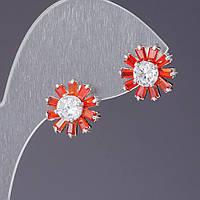 Серьги с красными кристаллами белая серединка   L-1,2см