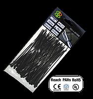 Стяжки кабельные пластиковые чёрные UV Black 2,5*200мм (100шт)