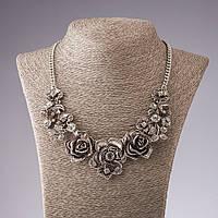"""Ожерелье """"Стальные Розы с кристаллами"""" L-49-55см"""