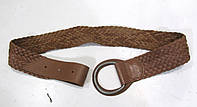 Пояс кожаный, плетеный, 105, коричневый, Отл сост!