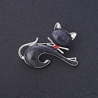 """Брошь """"Котик черный"""" фауна 4,5х3,3см цвет металла """"серебро"""" черная эмаль """"металлик"""", кошачий глаз"""