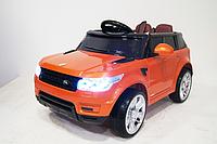 Детский электромобиль Range Rover E004E + РЕЗИНОВЫЕ EVA КОЛЁСА, 4АМОРТИЗАТОРА, дитячий електромобіль оранжевый
