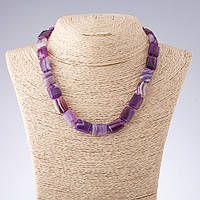 Бусы Агат фиолетовые тона прямоугольник  d-12*17мм L-44см