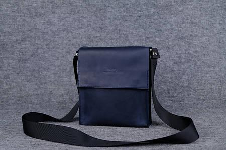 Мужская сумка через плечо на два отдела |10137| Синий